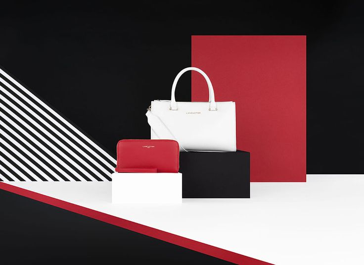 Handbag and wallet, Camelia, Lancaster Paris. #bag #wallet #sac #portefeuille #compagnon #white #black #red #stripes #rayures #setdesign #geometry #camelia #lancaster #lancasterparis