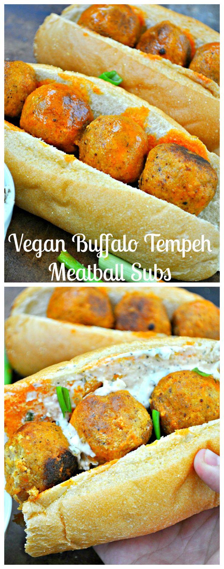 Vegan Buffalo Tempeh Meatball Subs