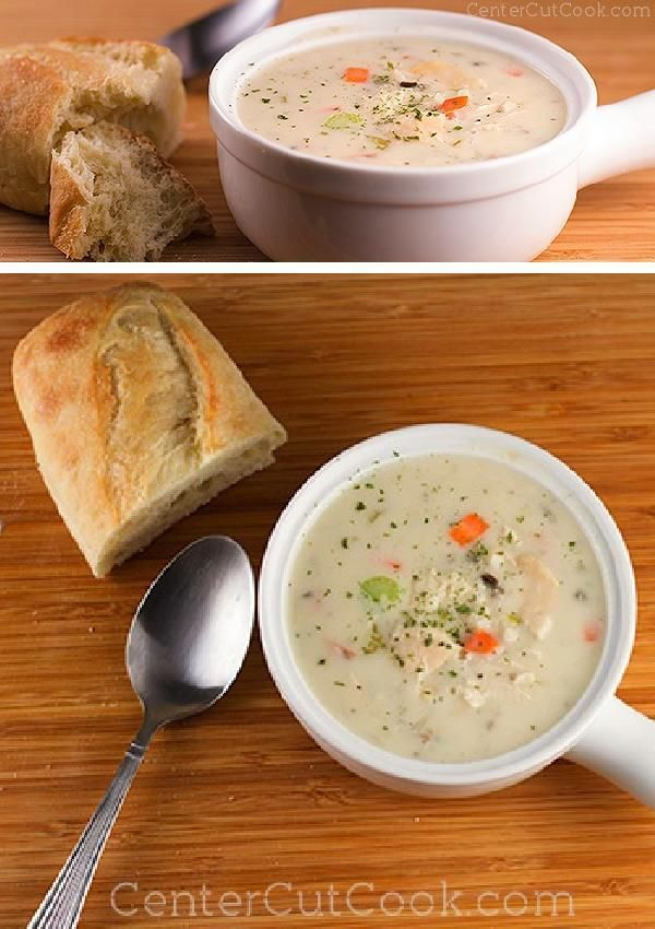 "Slow Cooker CREAM of CHICKEN & WILD RICE SOUP is creamy, comforting, and so easy to make that there is absolutely no reason to run out to a certain ""Bread Cafe"" to get a bowl!"