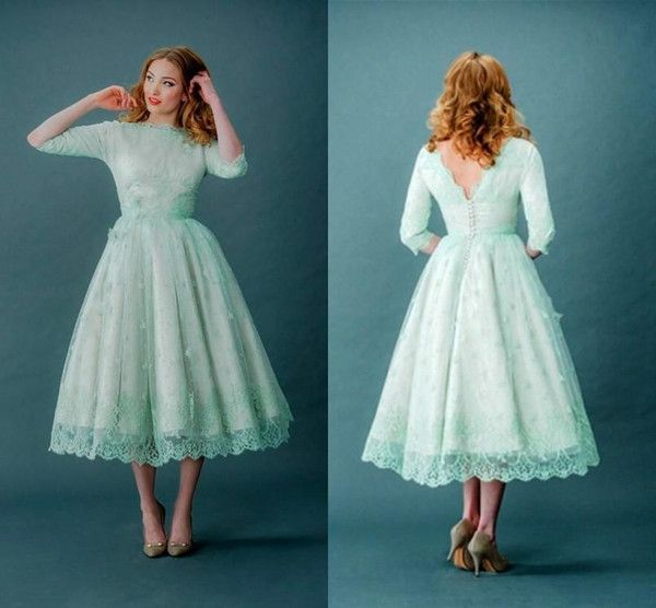 Wholesale 2015 Vintage Lace Prom Dresses Bateau Neck Half Sleeves Mint Green Tea Length Spring Plus Size Backless Wedding Party Dresses With Sleeves, Free shipping, $94.25/Piece | DHgate Mobile