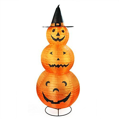 Felices Pascuas Collection 48 inch Pre-Lit Orange and Black Pumpkins with Witch Hat Halloween Yard Art Decoration