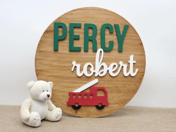 Firetruck Nursery Baby Boy Nursery Decor Wooden Names