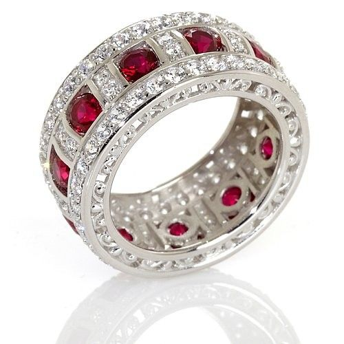 Victoria Wieck Absolute Trade Created Ruby and Pav Eacute Eternity Band Ring | Jewelry and Accessory