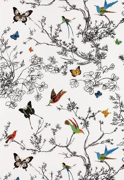 Wallcovering: Birds and Butterflies in Multi on White, 2704420.   http://www.fschumacher.com/search/ProductDetail.aspx?sku=2704420 #Schumacher