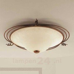 Landhuis-plafondlamp Daniele, antiek messing 6059293