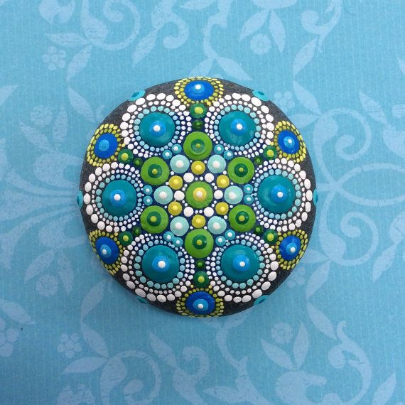 Jewel Drop Mandala Painted Stone by ElspethMcLean on Etsy Just LOVE.