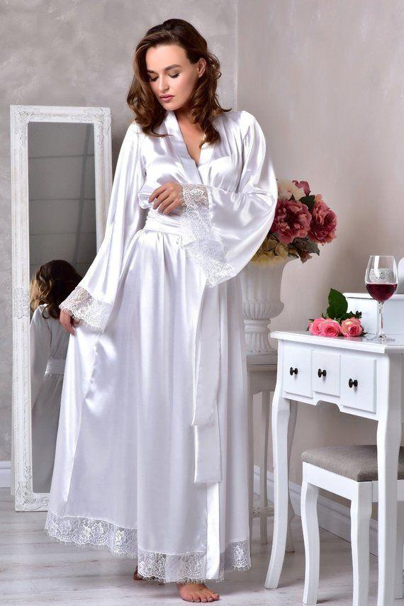 4359f9097b White long bridal robe Wedding kimono robe Long lace bridal robe Bridal  dressing gown Long robes for