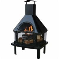 Blue Rhino - Endless Summer Outdoor Wood Burning Fireplace - Black - Front Zoom