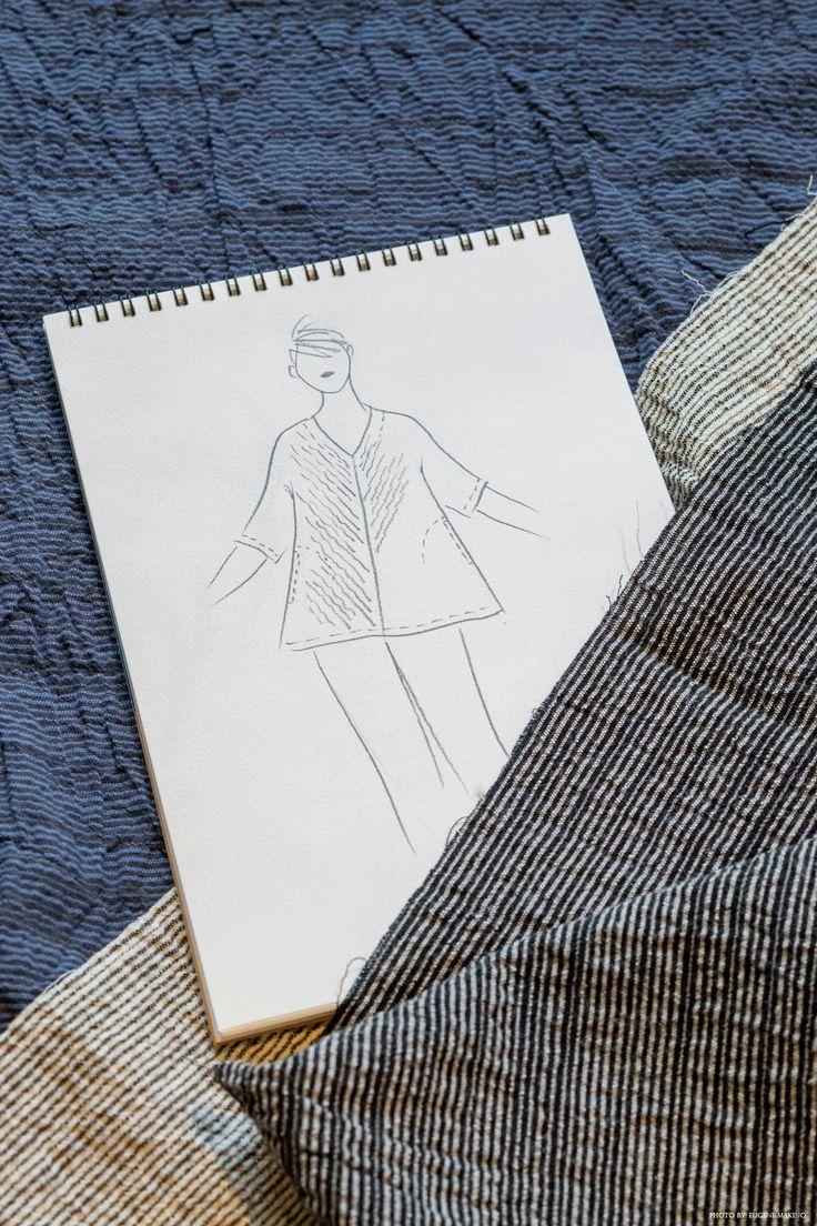 GRAPE Motomachi / Striped Crape V-Neck #cotton #crape #stripes #handsketch #design #grapemotomachi