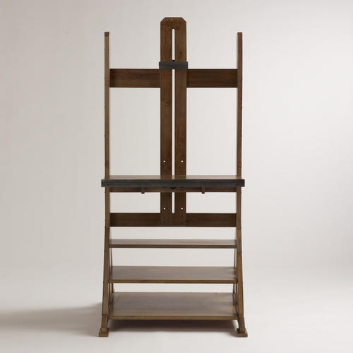 """WorldMarket.com: Easel Media Stand holds up to 42"""" flat screen TV. 3 shelves, but top one looks pretty shallow.  Might be good if you have a TV just for gaming."""