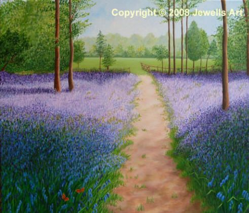 Bluebells with Butterflies painting by Julia Underwood. Prints available from www.jewellsart.co.uk