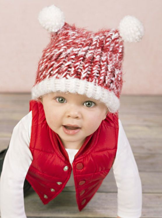 Loom Knit Baby Hat With Pom Poms