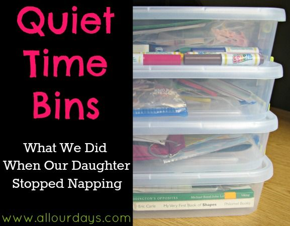 quiet time bins - put a few together ahead of time for when you need your little one to entertain themselves