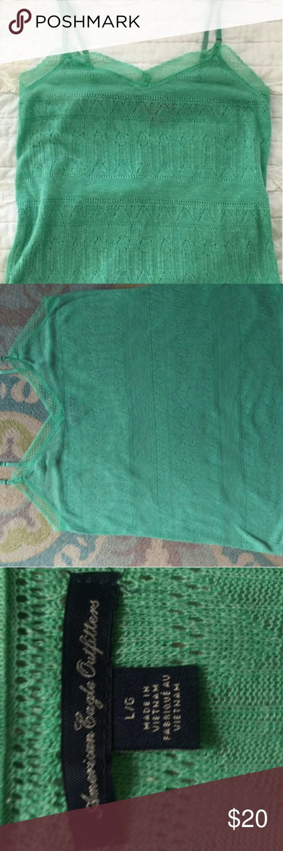 A mint green laced tank top A mint green skinny strapped laced tank top from amercan eagle outlet American Eagle Outfitters Tops Tank Tops