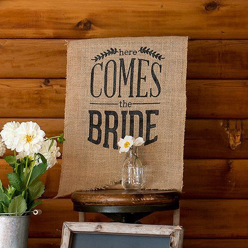 Here Comes the Bride Burlap Sign by Beau-coup