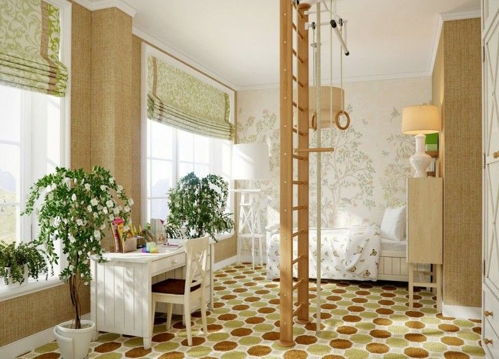 Kid Room, Brown Yellowish Wooden Ladder White Potted Plant Chair Sleeping Bed Desk Roll Down Curtain Pillow Glass Window Table Lamp Wooden Cabinet Patterned Wall And Full Room Carpet ~ Brilliant Kid Room Ideas for The Growth of Your Daughter or Son