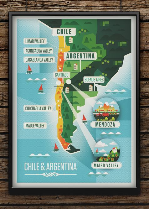 Majestic Wine Maps on Behance, wonderful map style.