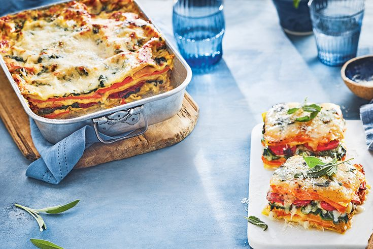 Vegetarian Harvest Lasagna—This lasagna is piled high with sweet potatoes and slow-roasted tomatoes, and layered with creamy béchamel sauce—but the secret's in the fried sage leaves.