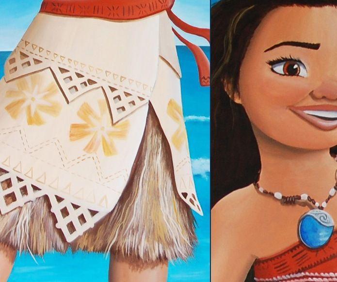 Prinses vaiana details van de schildering door bim for Muurtekeningen woonkamer