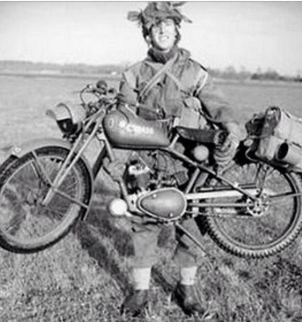 """This Bike is a Royal Enfield """"Flying flea"""", the motorcycle that was parachuted together with airborne troops in World War II"""