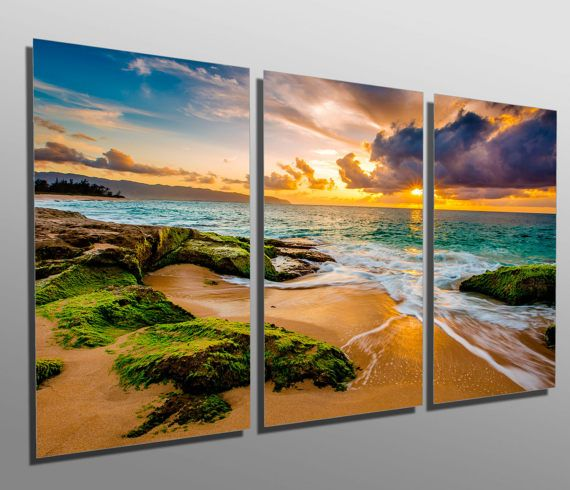 Metal Prints Hawaii Beach Golden Sunset 3 Panel Split Etsy Modern Metal Wall Art Metal Wall Art Wall Prints