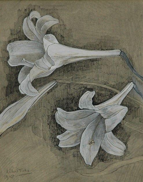 Albert Fiks (Elberfeld (Duitsland) 1908-1945 Laren (N.H.)) Witte lelies - Kunsthandel Simonis en Buunk, Ede (Nederland).