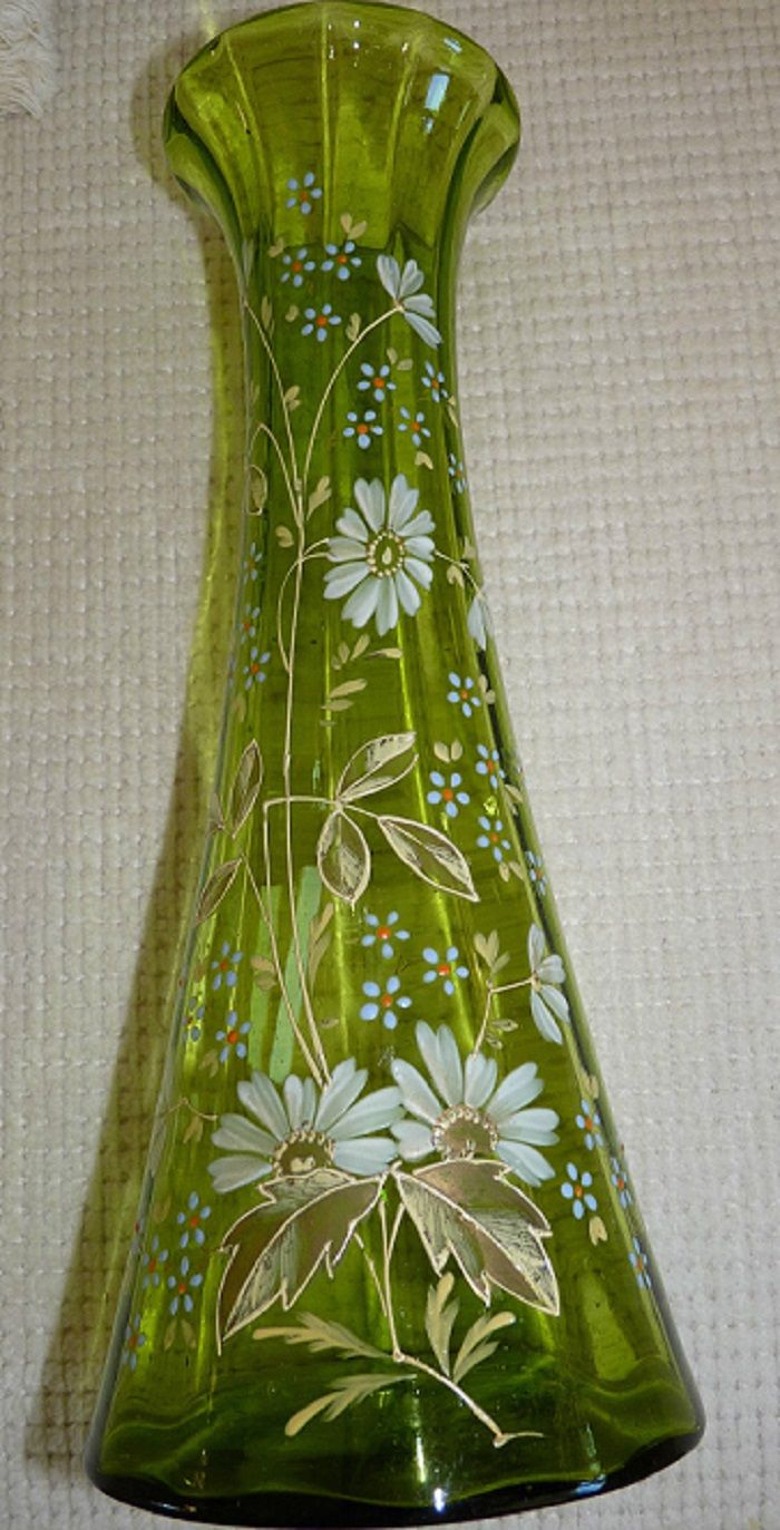 253 best moser glass images on pinterest antique glass crystals moser stunning tall green vase ornate hand blown painted reviewsmspy