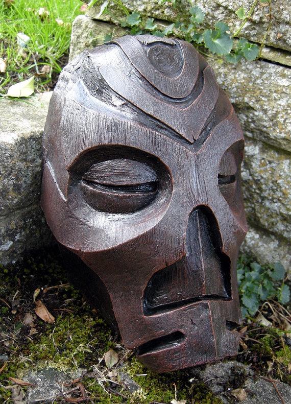 Wooden textured Skyrim style Dragon Priest Mask by nogoodrubber, $55.52