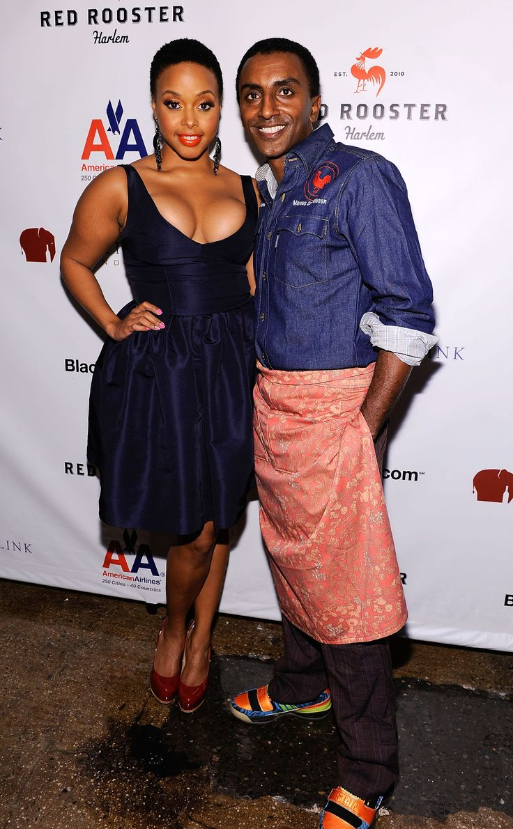 Marcus Samuelsson - like that denim chef jacket look - and the patterned apron