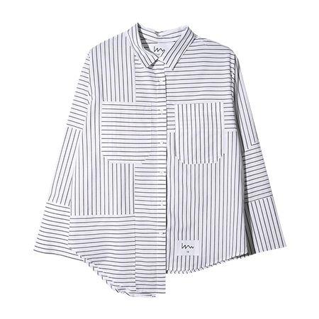 ストライプMIXシャツ(ブラック) | レディース・ガールズファッション通販サイト - STYLENANDA