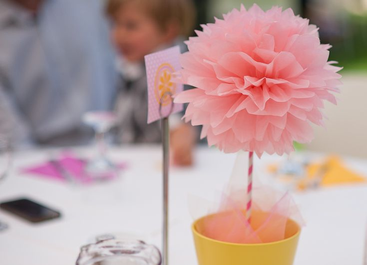 Juno's Naming Day & Pou's 3rd Birthday // Photography by Panagiotis Baxevanis // Poms from PomGarden @Etsy // Paper straws from BahanaSplitsBoutique and naissance @ Etsy // Table decoration and table number