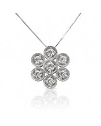 Daisy - 1.19ctw Round Brilliant Moissanite Flower Pendant, 14K White Gold
