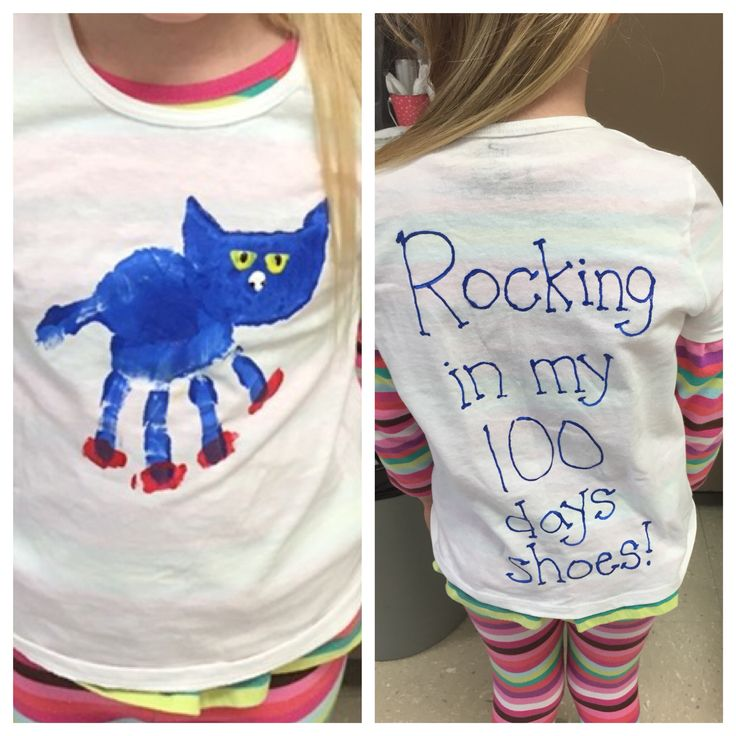 "Pete the Cat t-shirt for the 100th day of school! Use their handprint as his body, thumbprints for shoes and a sponge for his head. The back says ""rocking in my 100 days shoes"""