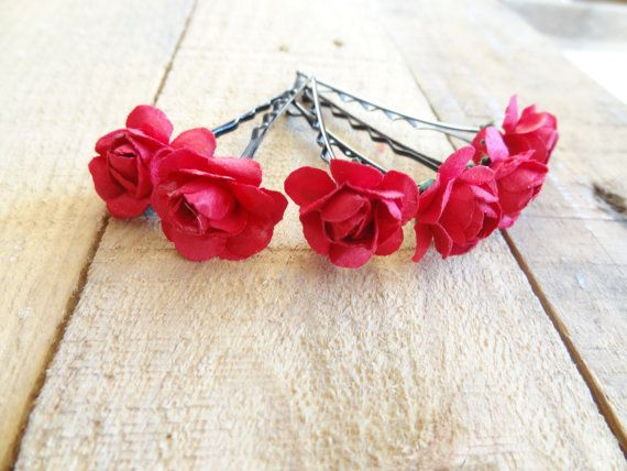 Red Rose Wedding Hair Pins  Bridal Hair Pins Hair