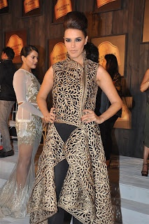 Neha Dhupia and Sameera Reddy at Sneak Preview of Blenders Pride Fashion Tour 2012. | Bollywood Cleavage