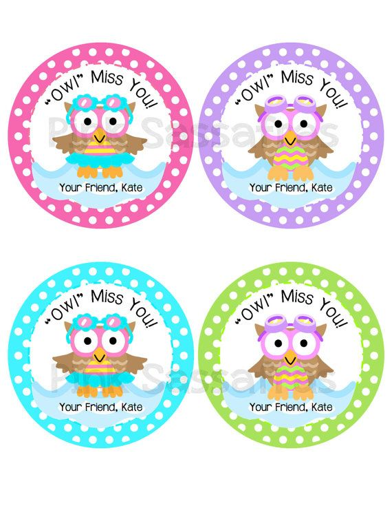 Owl Miss You Girl Gift Tags by PinkSassafras on Etsy