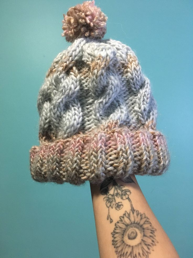 Perfect Pastel Puff Beanie with cables  #accessories #hat #pink #blue #beanie #cozy #pompom #cableknit #knit #handmade  https://www.etsy.com/ca/shop/TheLittleSeaShop