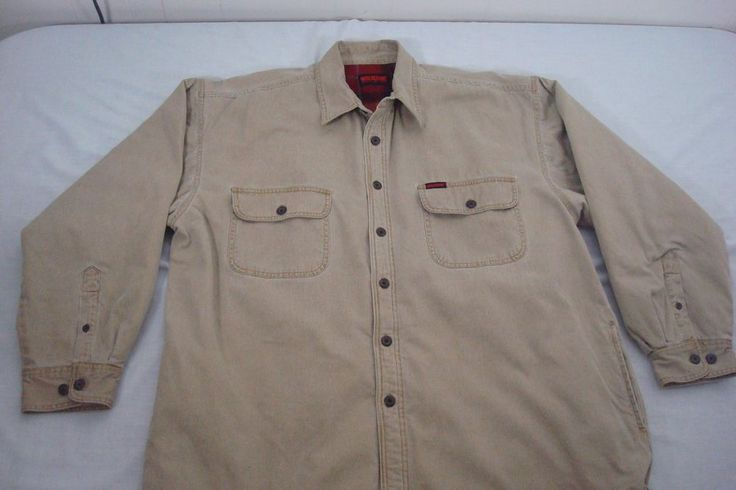 Wolverine Boots And Gear Mens Corduroy Jacket Shirt Size XL Lined Beige Khaki #Wolverine #CorduroyLinedJacketShirt