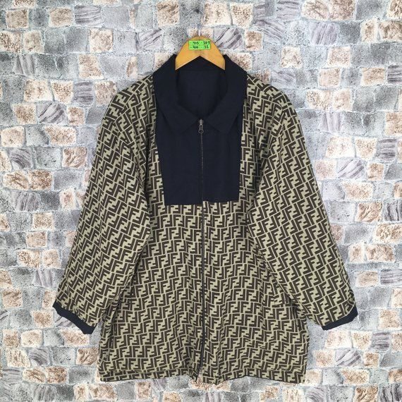 Bootleg Fendi Zucca Reversible Jacket Large Black Vintage 90s Fendi Zucca Jeans Couture Italy Fendi Monogram Windbreaker Reversible Jackets Jackets Italy Shirt