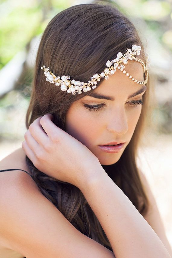 LAUREL bohemian headpiece in gold bridal by percyhandmade on Etsy, $285.00