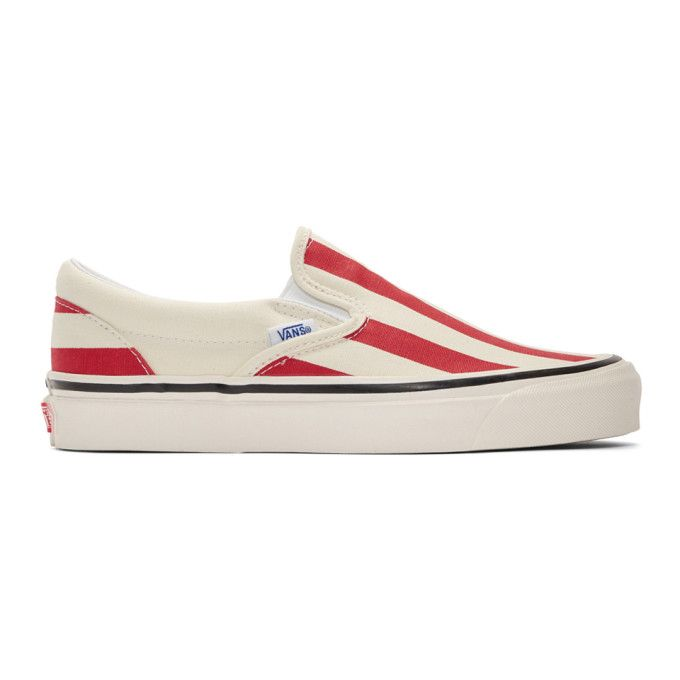 VANS VANS RED AND WHITE STRIPED CLASSIC