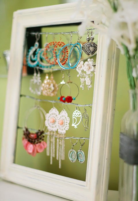 Cute idea for earrings... Picture frame and picture hanging wire.