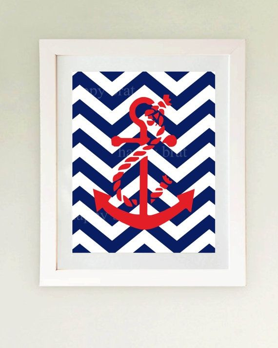 nautical decor: Anchors, Nautical Decor, Anchor Print, Chevron Fabric, Nautical Anchor