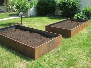 corten steel raised beds for veggies/ herbs