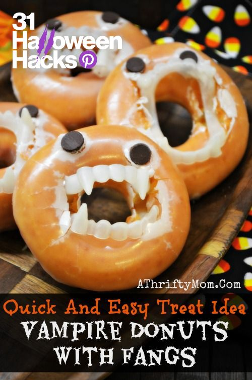 looking for a frugal and fun halloween treat for your kids these vampire donuts are awesome just purchase a few cheap fangs from your local store and add