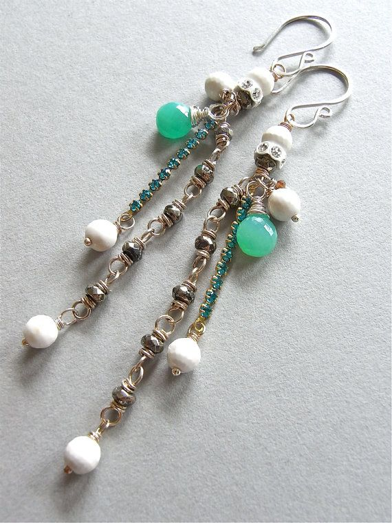 The Fern earrings - long and very dramatic, these have been created from a mix of eclectic components: vintage Swarovski crystals, pyrite rondelles, faceted white agate rounds, and beautiful apple green AAA chrysoprase briolettes.  Finished with my signature hand forged ear wires in sterling silver.