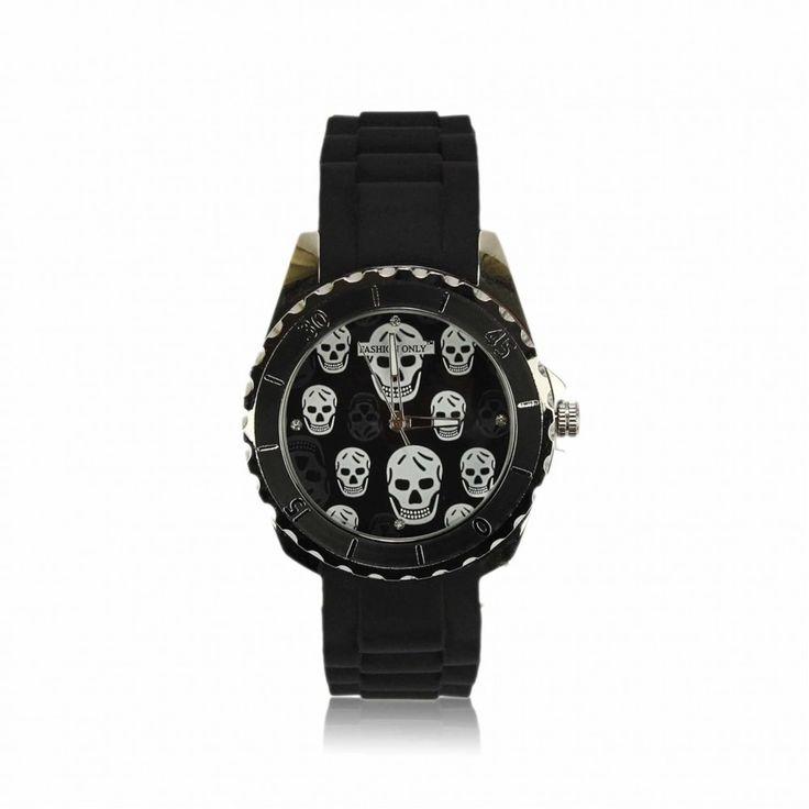 Černé unisex hodinky s plastovým řemínkem. Průměr: 4 cm, hodinový strojek: Quartz. Střední velikost