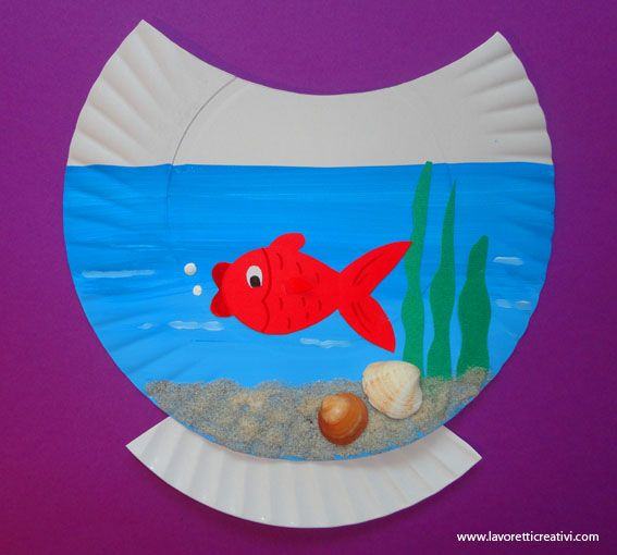 Goldfish bowl on a paper plate craft idea