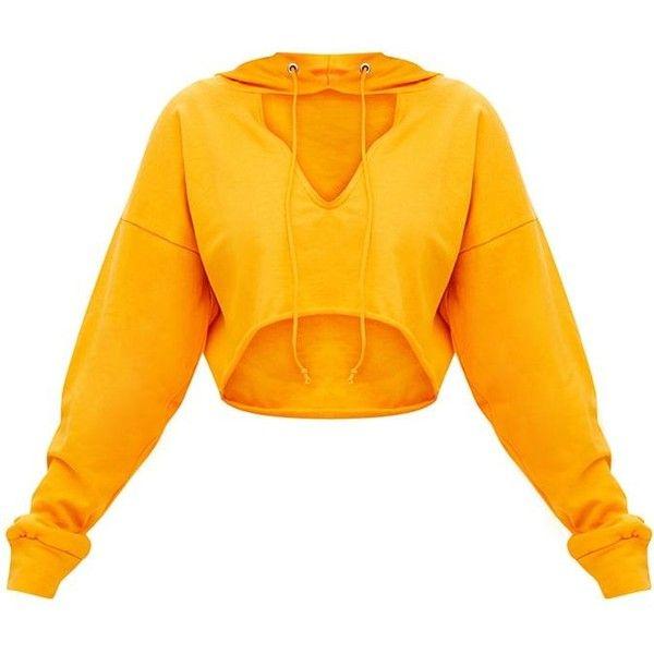 Shape Orange Crop Open Neck Hoodie ($20) ❤ liked on Polyvore featuring tops, hoodies, orange hoodies, cropped hoodies, sweatshirt hoodies, hooded pullover and orange hoodie