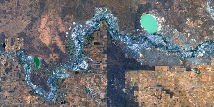 Agriculture along Murray River in Western Australia - PlanetSAT satellite image